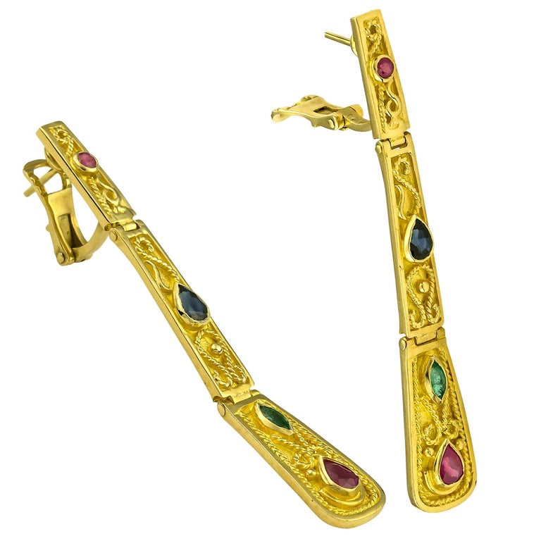 18 Karat Yellow Gold Ruby Sapphire Emerald Long Earrings