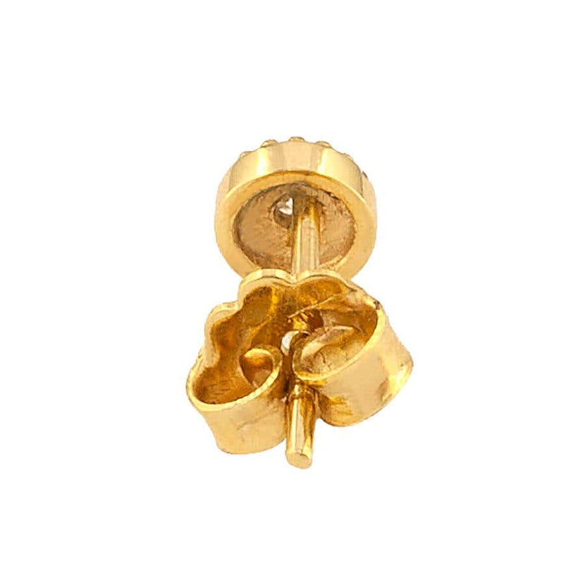 18 Karat Yellow Gold Solitaire Diamond Round Stud Earrings