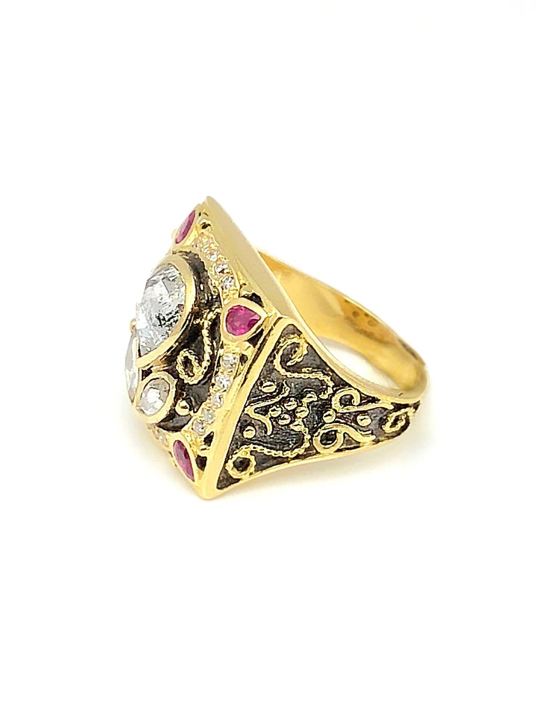 18 Karat Yellow Gold 2.36 Carat Old Cut Diamond Ring