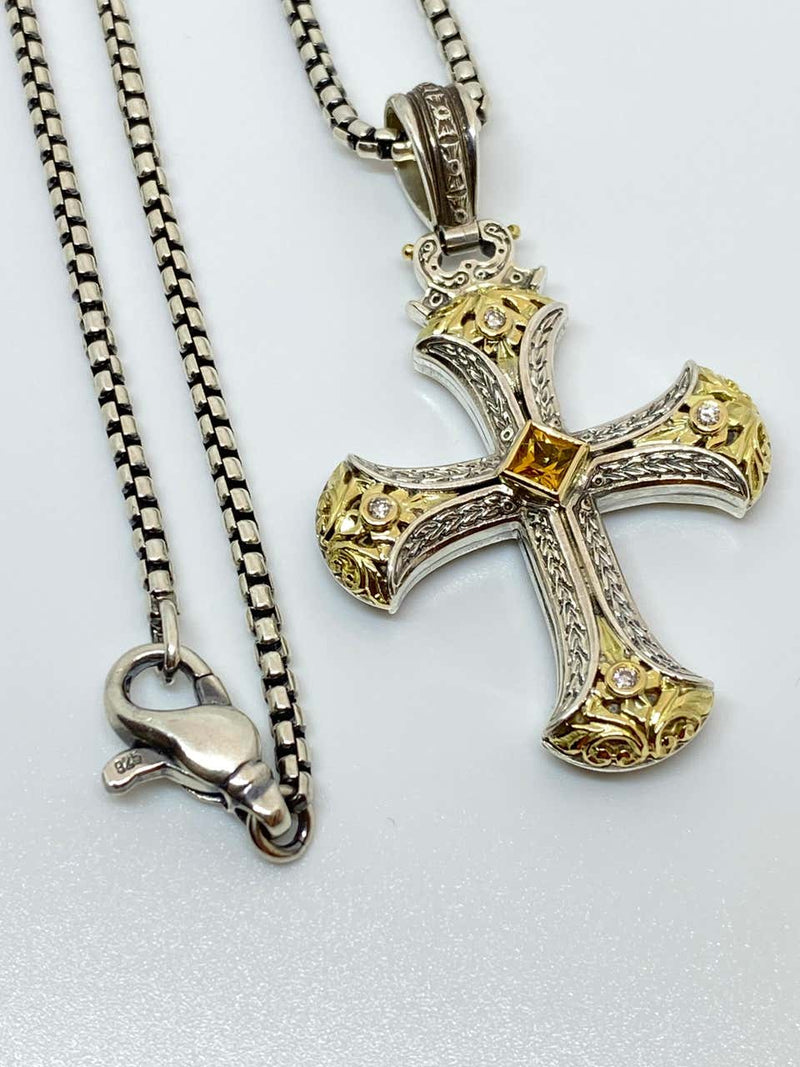18 Karat Gold and Silver Diamond and Sapphire Cross Pendant