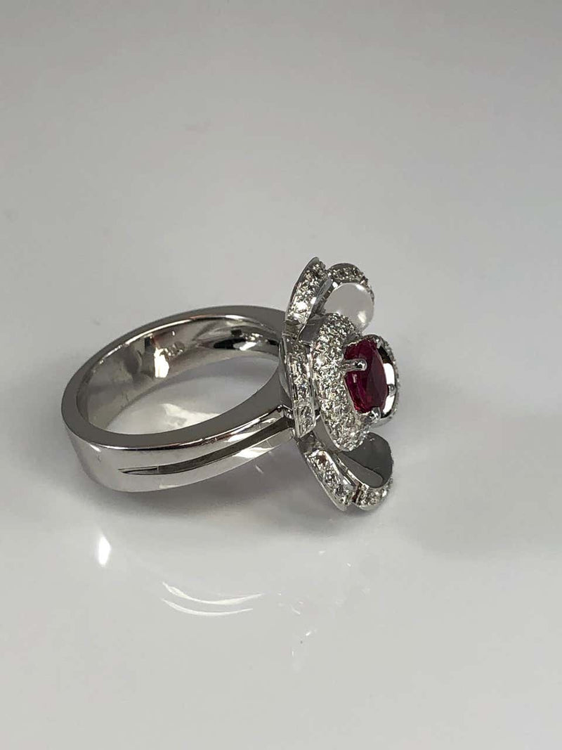 18 Karat White Gold Diamond and Ruby Floral Ring