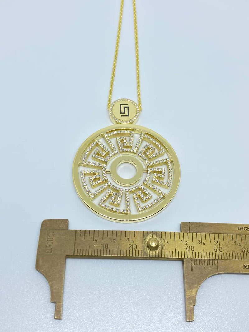 18 Karat Yellow Gold Diamond Greek Key Round Drop Pendant