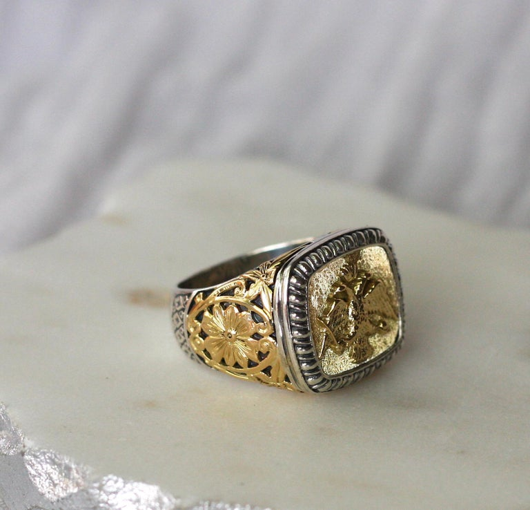 18 Karat Gold and Silver Ring with Double Headed Eagle