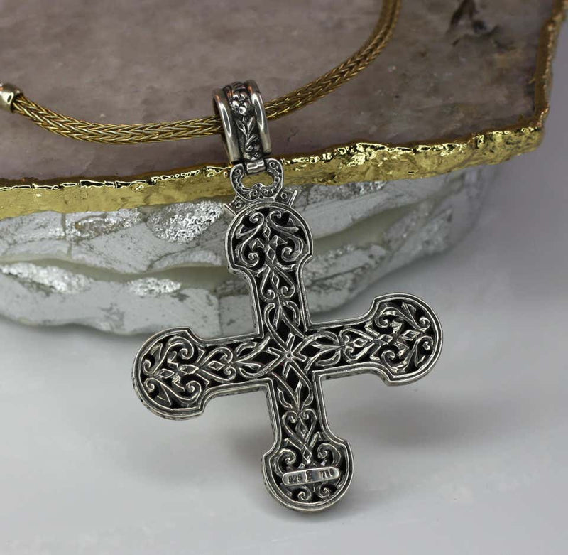 18 Karat Gold and Silver Tourmaline and Topaz Cross Pendant