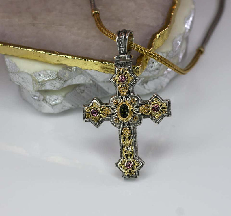 18 Karat Gold and Silver Tourmaline Diamond Cross Pendant