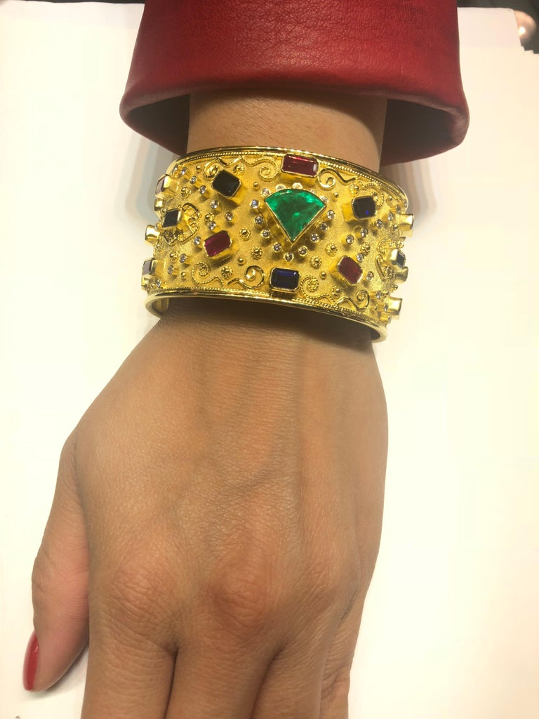 18 Karat Yellow Gold Emerald Bracelet with Rubies Sapphires