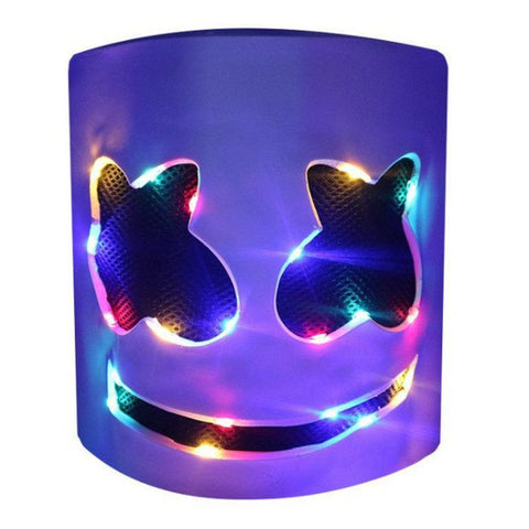 Kids DJ Marshmello Latex Mask Glow In Dark Costume Prop Halloween Party
