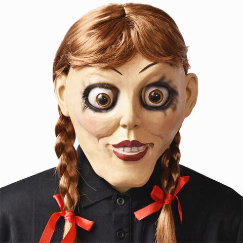 Annabelle 3 Halloween Latex Mask with Bunches Wig Costume Prop