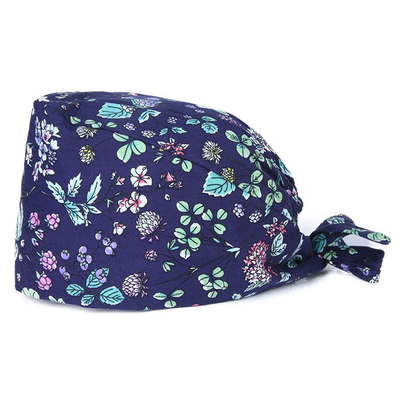 Floral Bouffant Scrub Hat Cotton Operating Room Nurse Cap