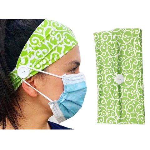 Green Unisex Button Headband Sport Casual Headband