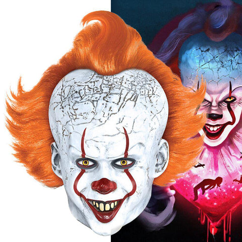 It: Chapter Two Pennywise Joker Mask With Wig Cosplay Costume for Masque Halloween Partys