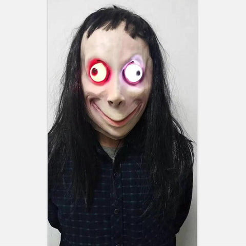 Momo Challenge Latex Mask with Black Long Hair Glow In Dark Halloween Costume Prop