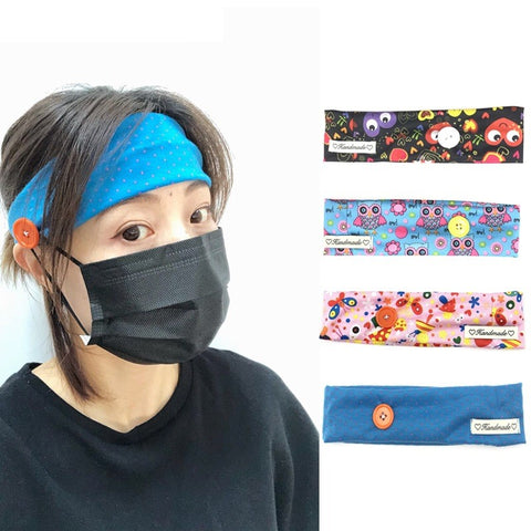 Unisex Casual Button Headband Sport Headband