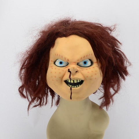 Seed of Chucky Mask with Brown Wig Halloween Costume Prop