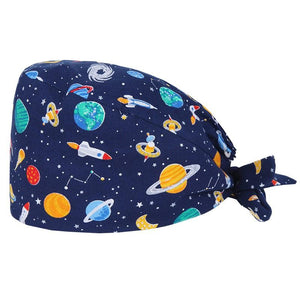 Starry Sky Cotton Bouffant Scrub Hat