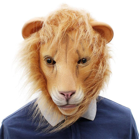 The Lion King Latex Mask with Blond Fur Costume Prop for Halloween