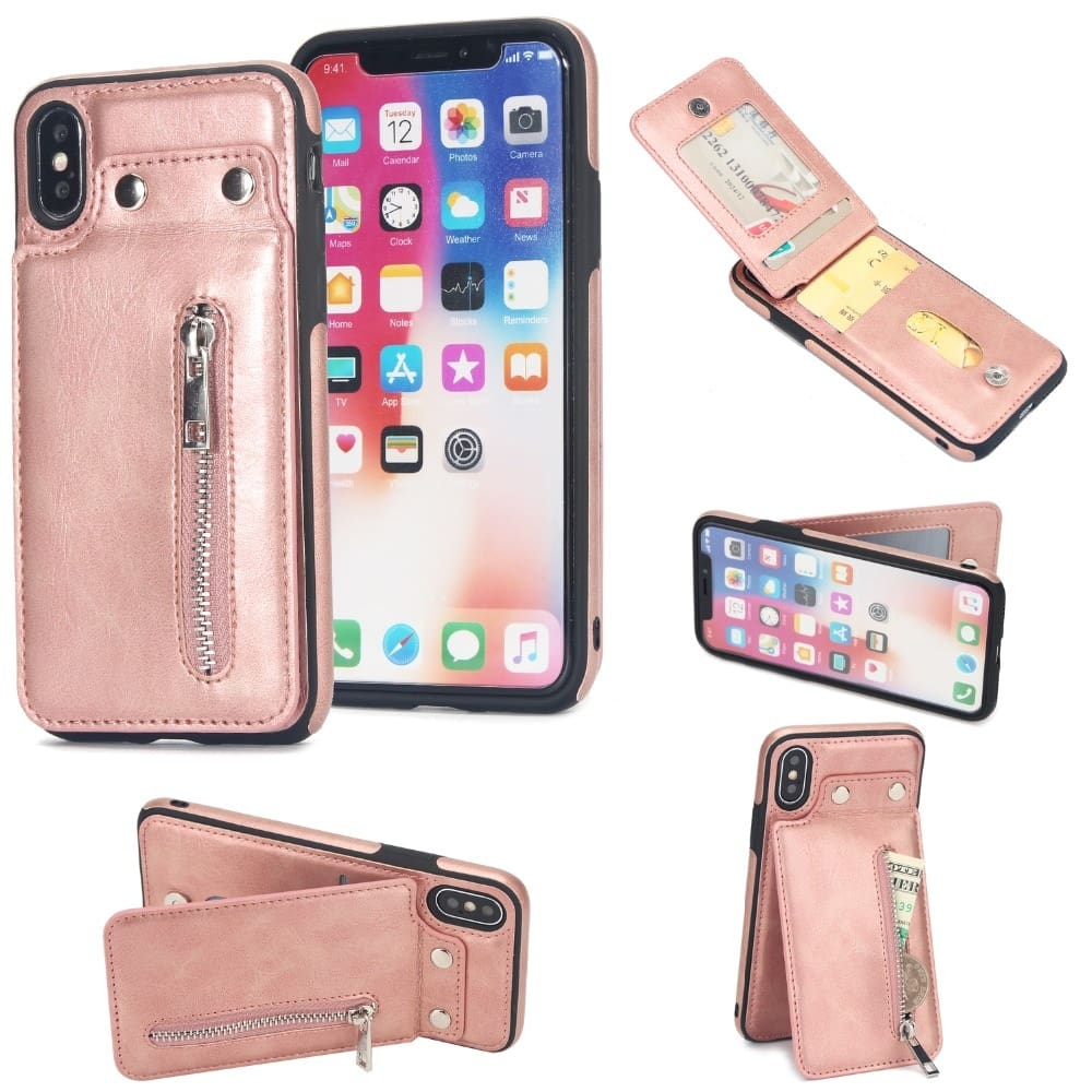 Cases For iPhone Fashion zipper Leather Phone Case Card