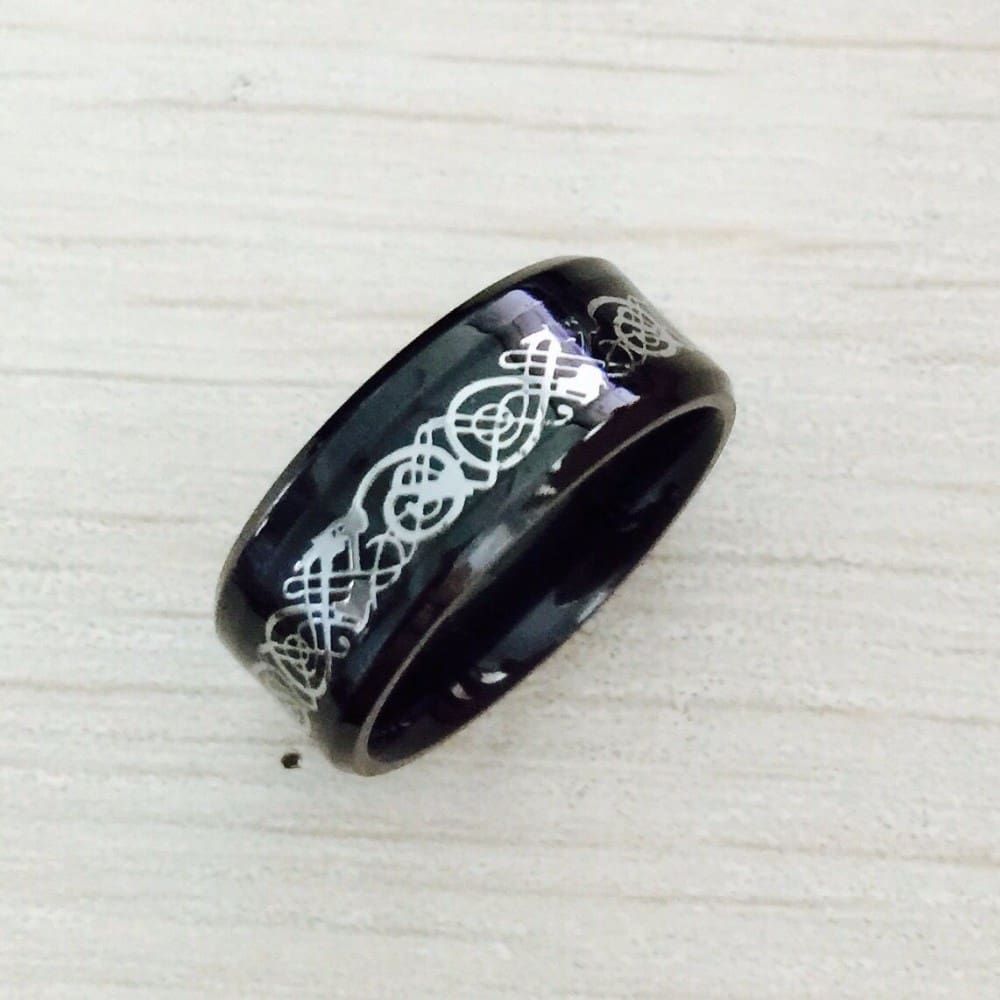 Black 316L Stainless steel Ring f