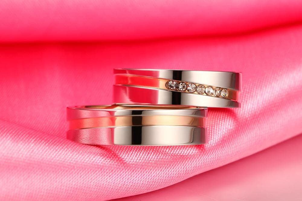 Vnox Lovers Elegant Wedding Rings for Women Men