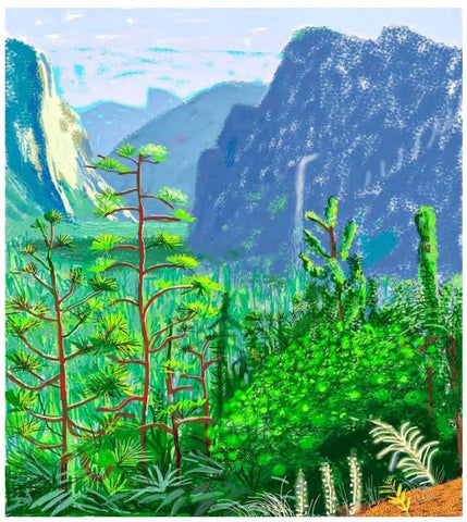 David Hockney, Yosemite/, 16 octobre 2011, dessin sur iPad imprimé sur 6 feuilles de papier, 181,5x108,3 cm, Contrecollées sur six feuilles de Dibond, Dimensions totales : 363x325 cm, The Fine Arts Museums of San Francisco, Copyright 2013 David Hockney