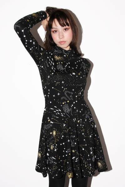 Stardust Turtleneck Twirl Dress