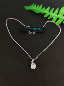 JON RICHARD - Silver Chain with Tear-Drop Pendant (with tag)
