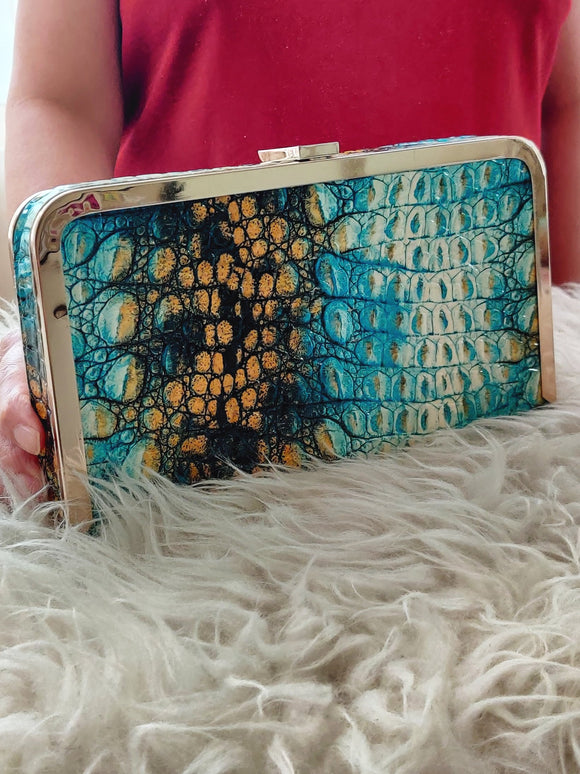 Clutch Bag with Metal Chain Strap