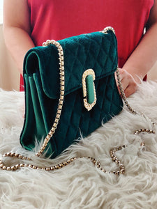 Royal Green Clutch Bag with Metal Chain Strap