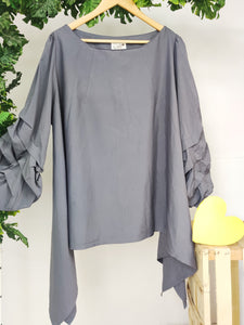 Solid Top with Ruffle Sleeves (sz XL)