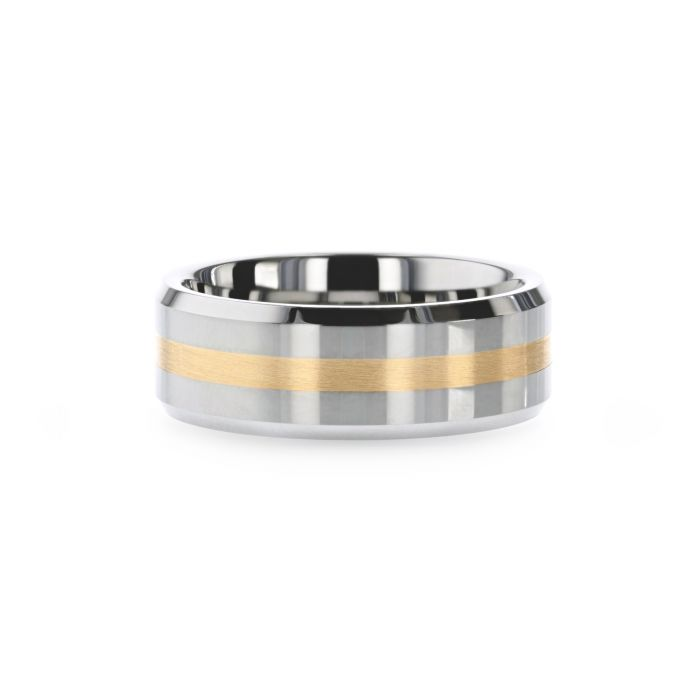 LEGIONAIRE Gold Inlaid Beveled Tungsten Ring