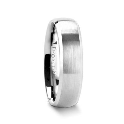 POLARIS Domed Brushed Finish Tungsten Ring with Polished Bevels