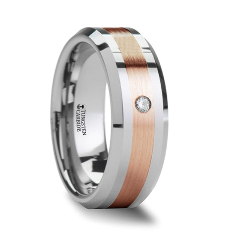 ENZO Beveled Tungsten Carbide Ring With Diamond and Rose Gold Inlaid
