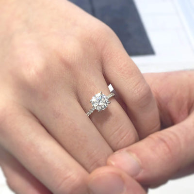 Lisa ~ 14K White Gold ~ 6.5mm (1.0ct) Round Moissanite Ring