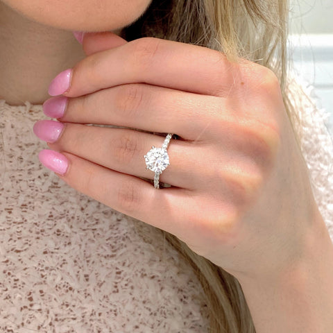 Charlene ~ 14K 8mm Round Moissanite Engagement Ring