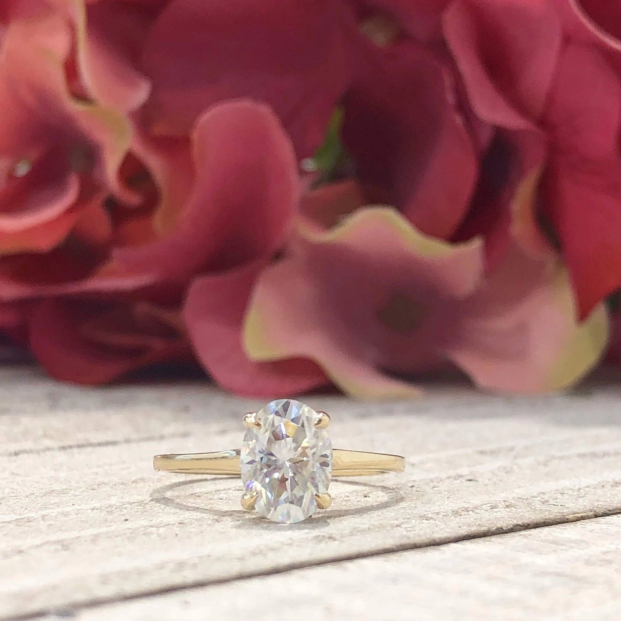 Lexi ~14K White Gold ~ 8x6mm Oval Moissanite Solitaire