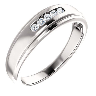 MWBM0099 ~ MENS  ~ 0.15CT WEDDING BAND