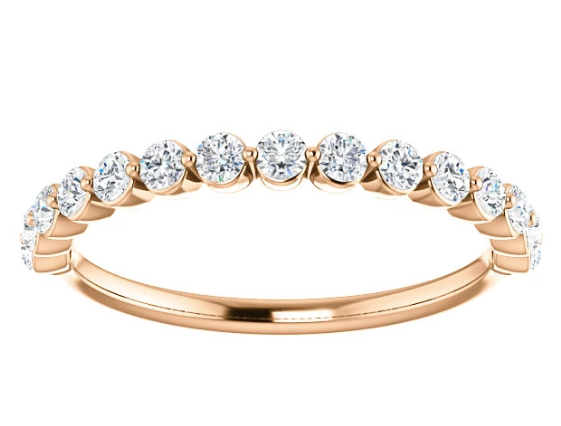 WBM0116-2.5 ~ MOISSANITE 0.66CT ROUND GOLD WEDDING BAND