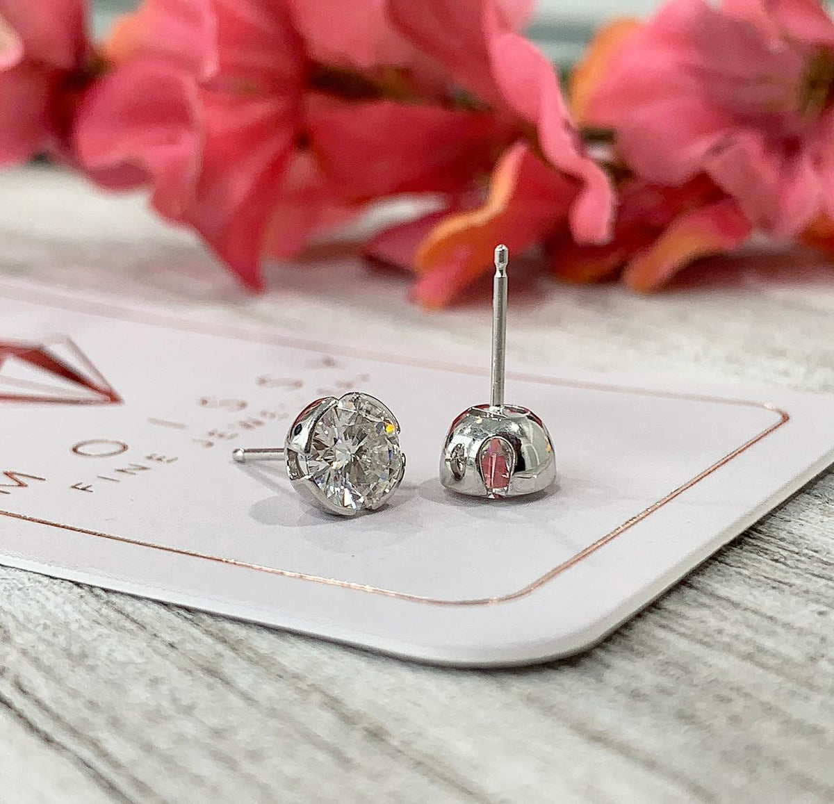 E135 ~ Moissanite ~ Partial Bezel Earring