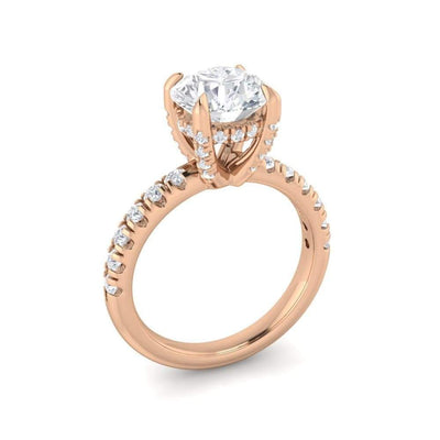 Aaliyah ~ 18Kr 7.5Mm Round Moissanite Diamond Hidden Halo And Band - Ring