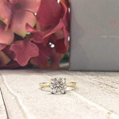 Alison ~18Kyw 7.5Mm Cushion Moissanite Diamond Hidden Halo - Ring