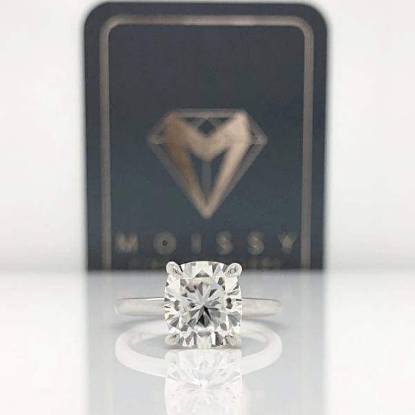 Ava ~ 18Kw 8X9Mm Elongated Cushion Moissanite Solitaire - Ring