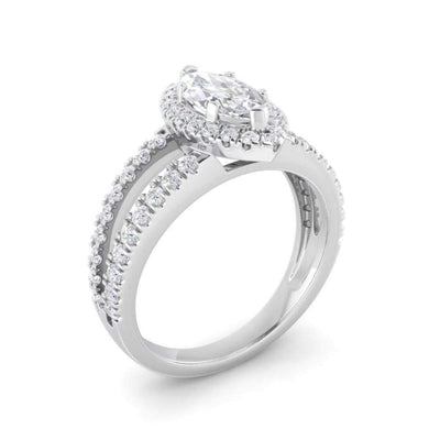 Beth ~ 18Kw 4.5X9Mm Marquise Moissanite Diamond Halo And Band - Ring