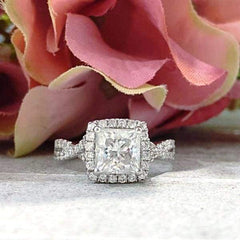 Brittney ~ 18Kw ~ 6.5Mm Princess Moissanite Diamond Halo And Band - Ring