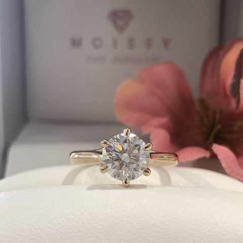 Claire ~ 18KR 7mm Round Moissanite Solitaire