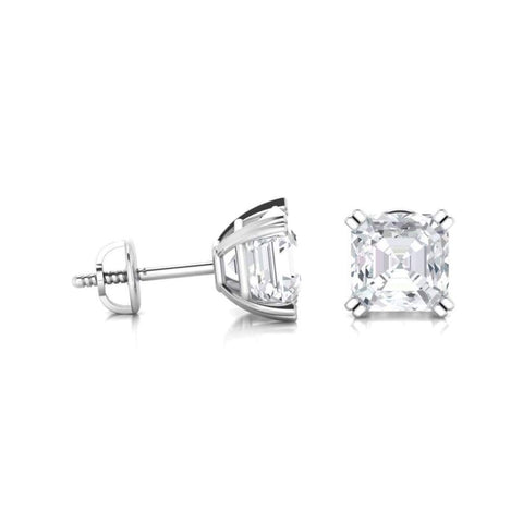 Earrings ~ 3.80Ct Asscher Split Claw White Gold Earrings - Earrings