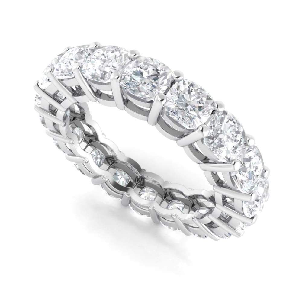 Ebm013 ~ Moissanite ~5.40Ct Cushion Eternity White Gold - Bands