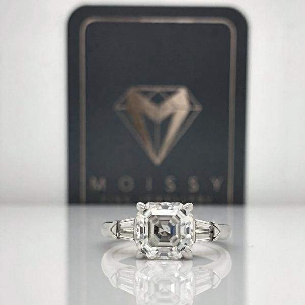 Emma ~ 14Kw 8Mm Asscher Moissanite & Moissanite Side Tapered Baquette - Ring