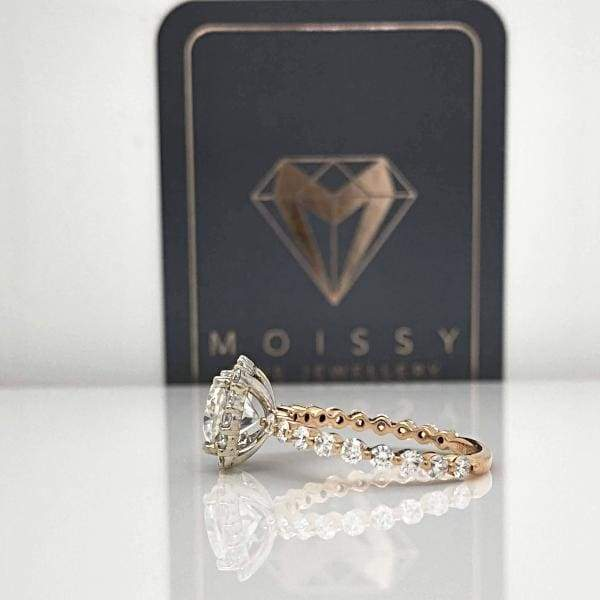 Eternal Collection ~ Courtney ~ 18Krw 7Mm Cushion Moissanite Diamond Band And Halo - Ring