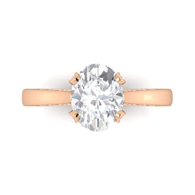 Eternal Collection ~ Danielle ~ 18Kw 9X7Mm Oval Moissanite Diamond Band - Ring