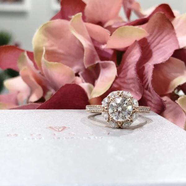 Eternal Collection ~ Gail ~ 18K Rose 6.0mm C&C F1 Round Moissanite, Diamond Halo and Band